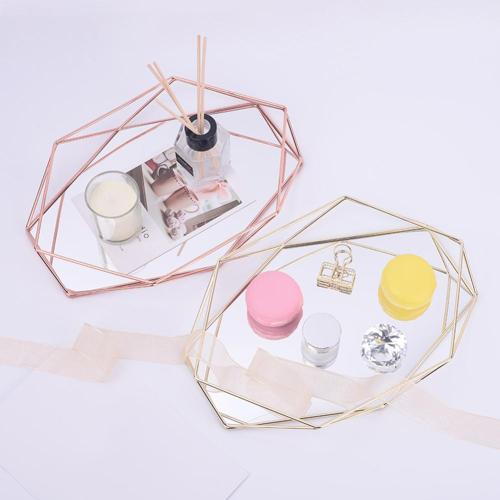 Three-dimensional Wrought Iron Storage Tray Nordic Minimalist Rose Gold Mirror Bottom Hexagonal Tray Home Decoration