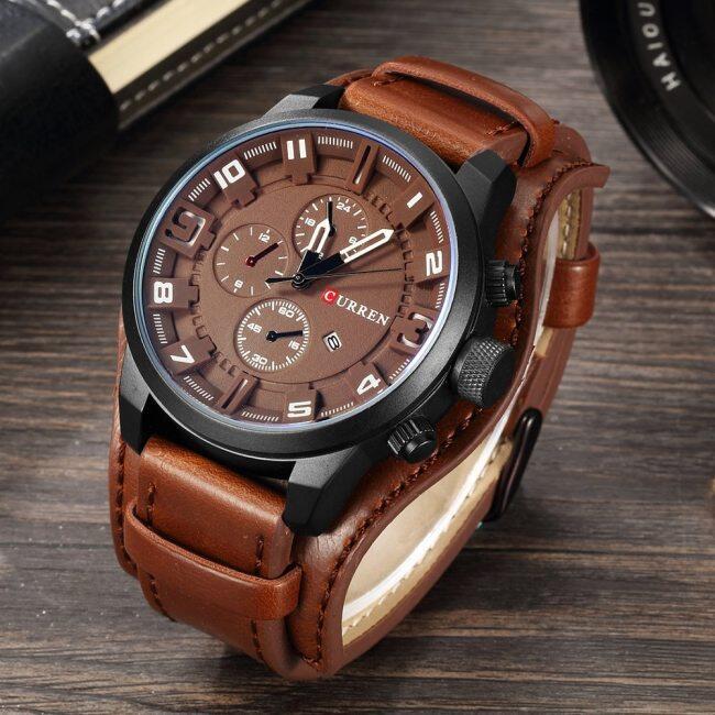 CURREN Top Brand Luxury Mens Watches Male Clocks Date Sport Military Clock Leather Strap Quartz Business Men Watch Gift 8225