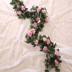 silk artificial rose vine hanging flowers for wall decoration rattan fake plants leaves garland romantic wedding home decoration
