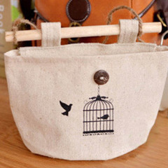 1 Pc 17*20cm Wall Hanging  Home Decor Cosmetics  Storage Bag Hanging Organizer Cotton Linen Sundries Storage Pockets