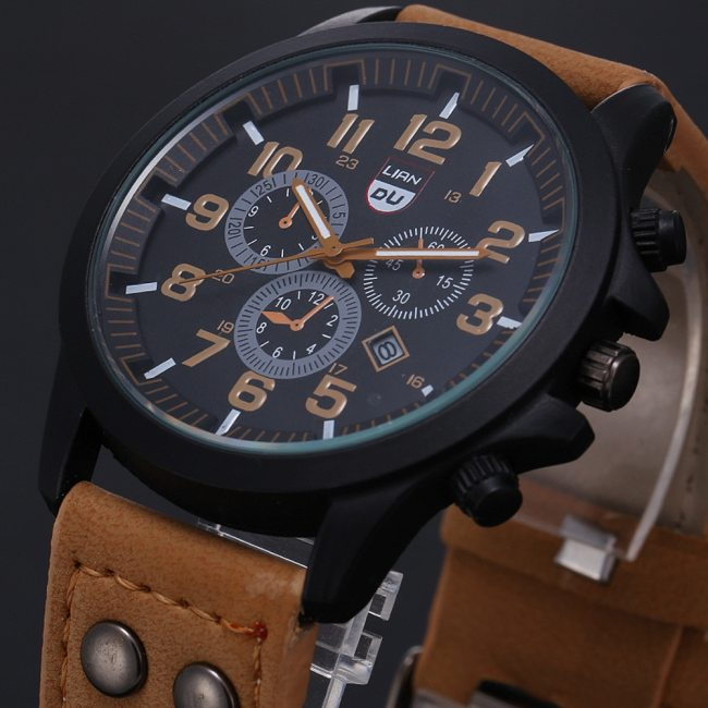 Luxury Classic Men Watch 2020 New Military Sport Stainless Steel Waterproof Date Leather Sport Quartz Watch Relogio Masculino