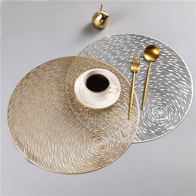2020 New Gold Silvery Round Placemats Kitchen PVC Mats for Dining Tables Drink Coasters Set Coffee Cup Pad Hotel Restaurant