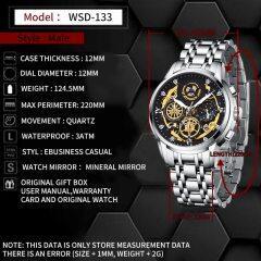2021 New Fashion Men's Watch Stainless Steel Top Brand Luxury Waterproof  Sports Chronograph Quartz  Men's Relogio Masculino