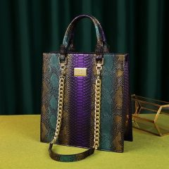 New fashion panelled serpentine bags for women leather handbag designer high quality large capacity tote bag top handle clutch