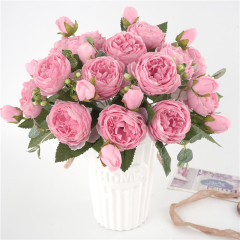 5 Big Heads/Bouquet Peonies Artificial Flowers Silk Peonies Bouquet 4 Bud Flowers Wedding Home Decoration Fake Peony Rose Flower