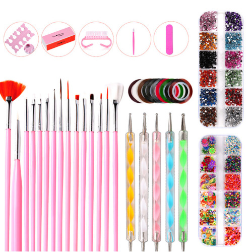 38pcs Colorful Drawing Rhinestone Brushes Salon Home Painted Point Drill Pen Polishing Decorating DIY Manicure Tool Nail Art Kit