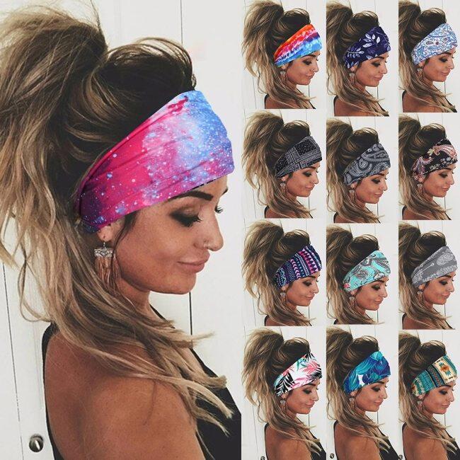 Tie Dye Cycling Yoga Sport Sweat Headband Women Sweatband For Men Women Yoga Hair Bands Head Sweat Bands Sports Safety