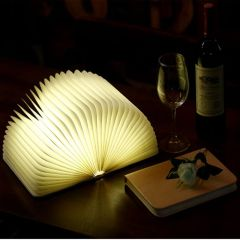 LED Magnetic Foldable Book Lamp Wooden Grain Portable USB Rechargeable Novelty Table Night Light Desk Lamp for Home Decoration