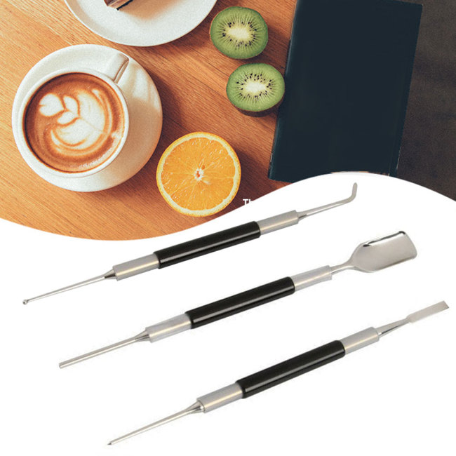 3pcs/set Kitchen Coffee Art Pen Latte Decorating Home Tamper Cappuccino Needle Barista Cafe Carving DIY Stainless Steel Tool