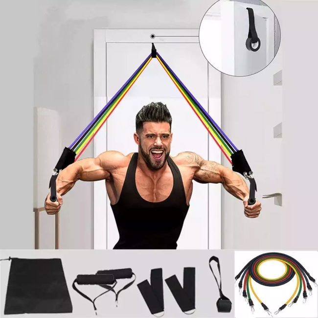 11Pcs/Set Latex Tube Resistance Bands Yoga Fitness Gym Equipment Exercise Pull Rope Home Elastic Back Muscle Strength Training