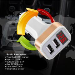 Dual 2 USB Car Charger LED 5V/2.1A Digital Display For iphone Xiaomi Samsung Fast Charge Adapter USB Cable Mobile Phone Chargers