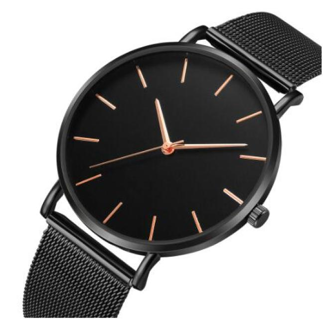 Femme Modern Fashion Reloj Mujer Black Quartz Watch Women Mesh Stainless Steel Bracelet Casual Wrist Watch for Woman