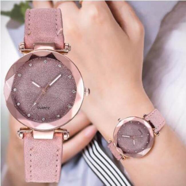 Casual Women Romantic Starry Sky Wrist Watch Leather Rhinestone Designer Ladies Clock Simple Dress