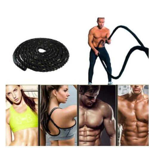 12m Black Heavy Undulation Battling Rope Gym Workout Bands Training Rope Slimming Fat Burning Fitness Equipment HWC