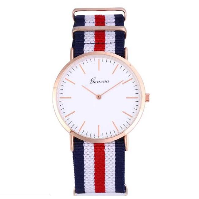 Couple watch canvas nylon watch simple Korean version of European and American retro watch trend color strip
