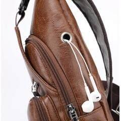Men's USB Chest Bag Designer Messenger bag Leather Shoulder Bags Diagonal Package 2018 new Back Pack Travel