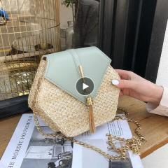 Mulit Style Straw+leather Handbag Women Summer Rattan Bag Handmade Woven Beach Circle Bohemia Shoulder Bag New Fashion