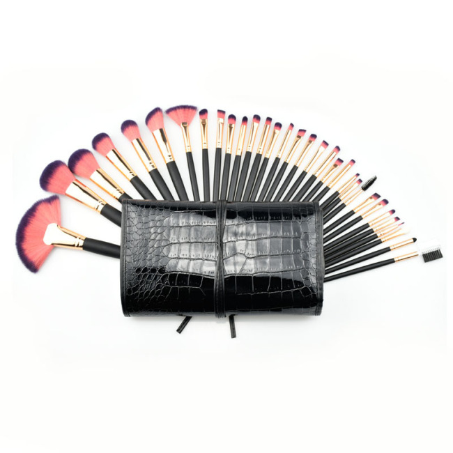 Best selling explosion models 32 makeup brushes Crocodile leather suit Factory direct Exquisite makeup kit