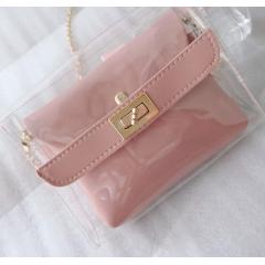 Pink color Fashion jelly package 2019 Japan and South Korea new network red chain terms child small square bag retro single shoulder Messenger bag tide