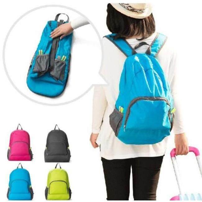 Blue color Portable outdoor folding backpack travel hiking bag waterproof nylon sports skin bag backpack
