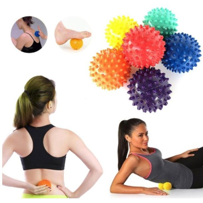 Durable PVC Spiky Massage Ball Trigger Point Sport Fitness Hand Foot Pain Relief Plantar Fasciitis Reliever 7cm Exercise Balls