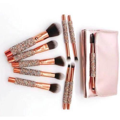 New 10 Diamonds Makeup Brushes Wrapped Eyeshadow Brushes Rose Gold Brush Sets Beauty Kit