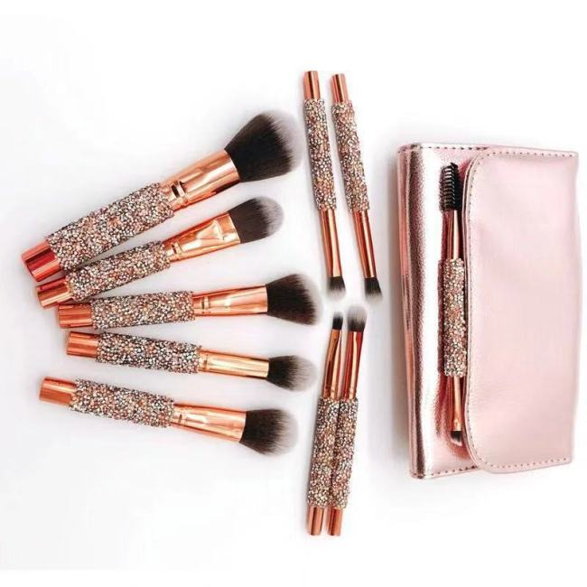 New 10 Diamonds Makeup Brushes Wrapped Eyeshadow Brushes Rose Gold Brush Sets Beauty Kit