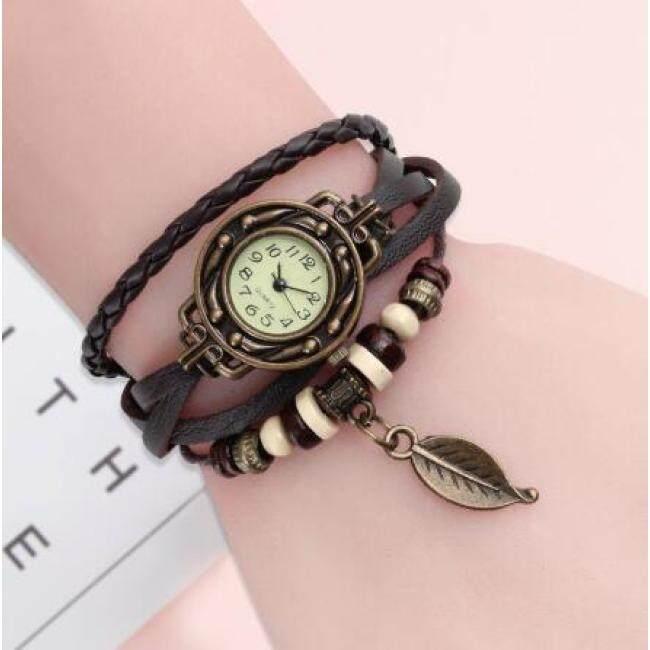 High Quality Women Genuine Leather Vintage Quartz Dress Watch Bracelet Wristwatches