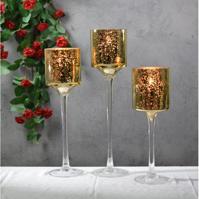 Long Stemmed Electroplated Glass Candle Holder Wedding Decoration Glass Candle Holder