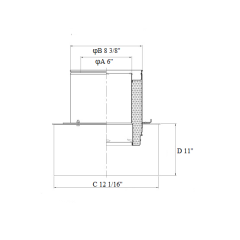 Chimney 11'' Square Ceiling Support Box Stainless Steel for 6 Inch Double Wall Chimney Pipe