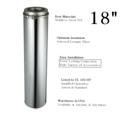 Chimney 6 Inch x 18 Inch Insulated Double Wall Chimney Pipe 304 Stainless Steel