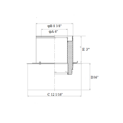 Chimney 36'' Square Ceiling Support Box Stainless Steel for 6 Inch Double Wall Chimney Pipe