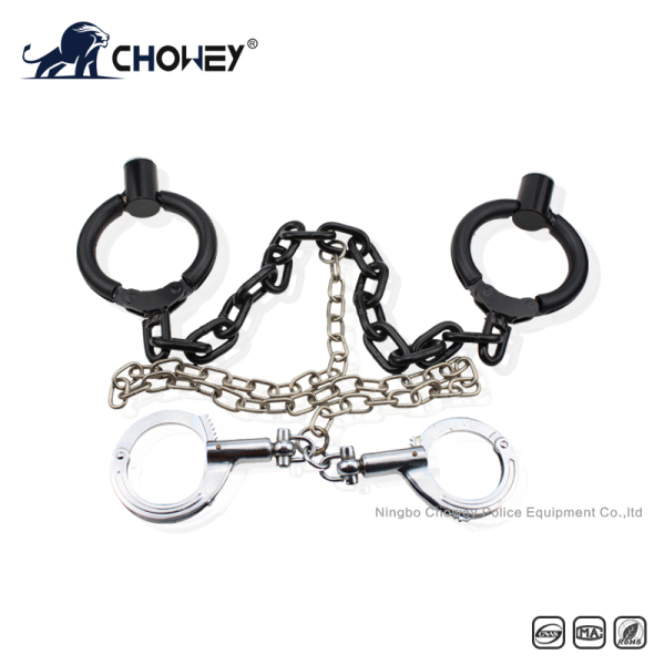 Nickel plated carbon steel handcuffs and legcuffs 2 in 1 FT0288