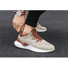 Flying woven coconut shoes students lightweight breathable sports running shoes casual white shoes tide men's shoes