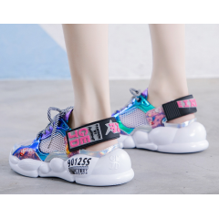 2019 summer new breathable laser bright tie thick platform fashion casual shoes women's shoes