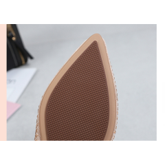 Pointed suede single shoes female 2019 spring new Korean rhinestone flat shoes large size sweet beauty shoes