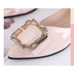 Soft bottom women's shoes flat shallow tip pointed rhinestone scoop shoes pregnant women soft egg roll shoes