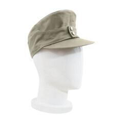 WWII German M43 Heer summer HBT Officer service cap off white