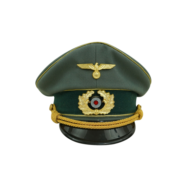 WWII German Heer General Gabardine visor cap with insignia