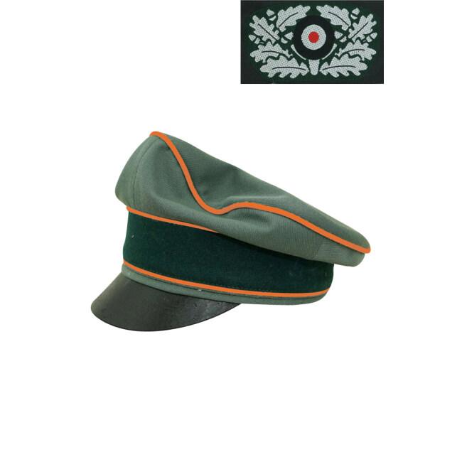 WWII German Heer Gabardine Field Police Crusher Visor Cap with insignia