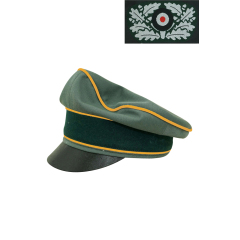 WWII German Heer Gabardine Cavalry / Recon Crusher Visor Cap with insignia