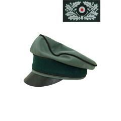 WWII German Heer Gabardine Pioneer Crusher Visor Cap with insignia