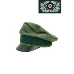 WWII German Heer Wool Panzergrenadier Crusher Visor Cap with insignia