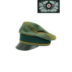 WWII German Heer Wool Cavalry / Recon Crusher Visor Cap with insignia