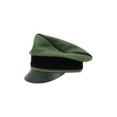 WWII German Waffen SS Wool Pioneer Crusher Visor Cap