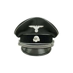 WWII German Allgemeine SS General officer black Gabardine Visor cap with insignia