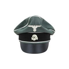 WWII German Waffen SS Gabardine Infantry Crusher Visor Cap with insignia