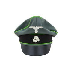 WWII German Waffen SS Gabardine Mountainer Crusher Visor Cap with insignia