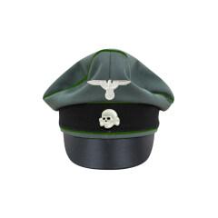 WWII German Waffen SS Gabardine Panzergrenadier Crusher Visor Cap with insignia