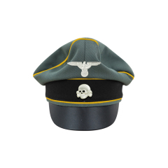 WWII German Waffen SS Gabardine Cavalry / Recon Crusher Visor Cap with insignia
